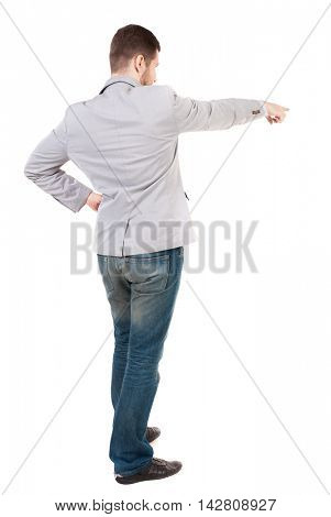 Back view of pointing business man.  Rear view people collection.  backside view of person.  Isolated over white background. A guy in a gray jacket waving his arms.