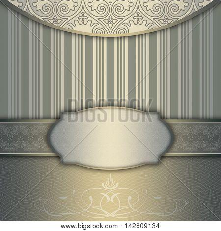 Vintage background with decorative borderframe and old-fashioned elegant patterns. Vintage invitation card or cover-book design.