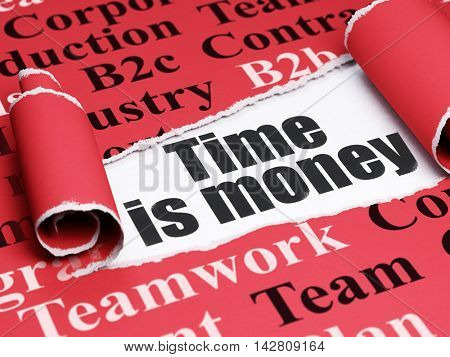 Finance concept: black text Time Is money under the curled piece of Red torn paper with  Tag Cloud, 3D rendering