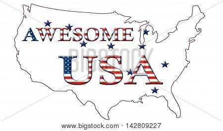 Awesome USA, Stars And Stripes Poster 09C