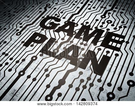 Business concept: circuit board with  word Game Plan, 3D rendering