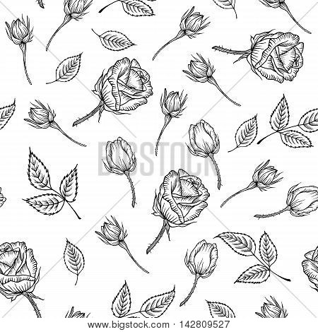 Seamless pattern with black and white rose isolated. Vintage pattern of monochrome rose. Vector rose. Design for card mothers day wedding birthday textile web wallpaper wraping print