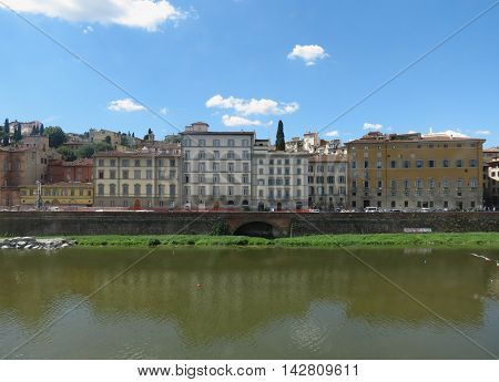 Waterfront houses over river Arno in Florence Italy