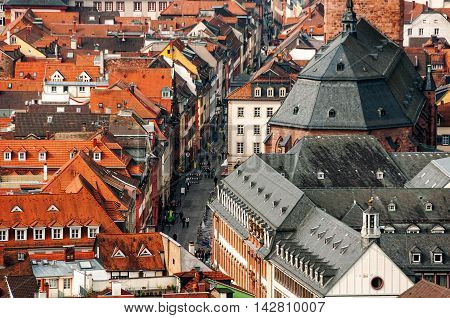Heidelberg, Germany. Aerial view of one of the most famous touristic cities