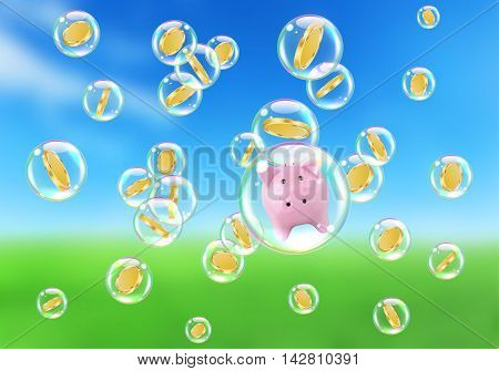 Golden coins and money piggy in soap bubbles concept of risky financial investments