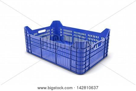 Blue plastic crate isolated on white with clipping path. 3d rendering