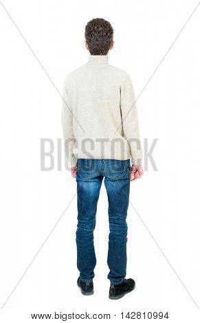 Back view of man . Standing young guy. Rear view people collection.  backside view of person.  Isolated over white background. Curly short-haired man in a woolen white jacket looking up.