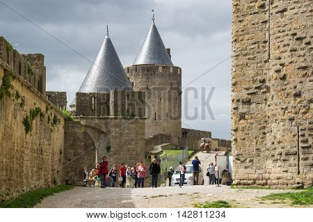 CARCASSONNE FRANCE - MAY 05 2015: Medieval castle of Carcassonne Languedoc - Roussillon France