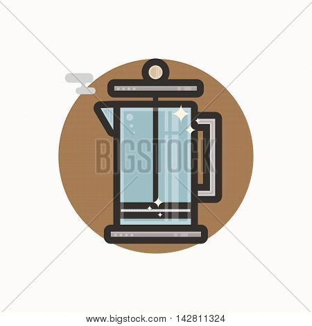 Vector icon of french press. Icon is in lineart style. Symbol on brown circular background.