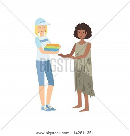 Girl Volunteer Giving Clean Clothes To Poor Woman Flat Illustration Isolated On White Background. Simplified Cartoon Character In Cute Childish Manner.