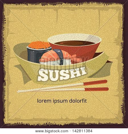 Vector vintage poster with sushi banners, traditional japan food. tamplate for cover or emblem design. Illustrations with place for your text.