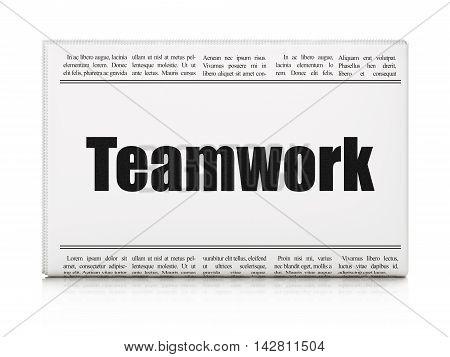 Finance concept: newspaper headline Teamwork on White background, 3D rendering