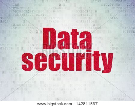 Safety concept: Painted red word Data Security on Digital Data Paper background