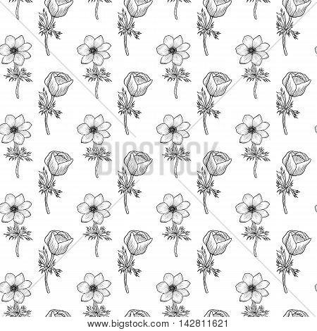 Seamless pattern with black and white anemone Vintage pattern of monochrome wind flower Vector anemone Design for card, mothers day, wedding, birthday, textile, web, wallpaper, wraping, print