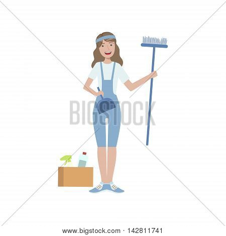 Volunteer With Household Chemistry Cleaning Up Flat Illustration Isolated On White Background. Simplified Cartoon Character In Cute Childish Manner.