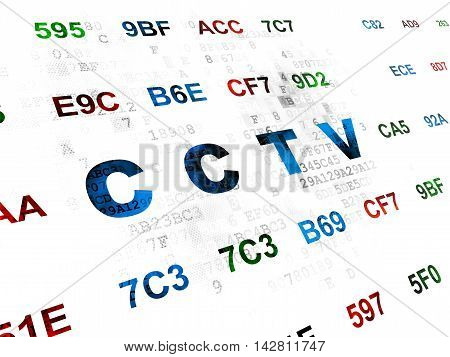 Security concept: Pixelated blue text CCTV on Digital wall background with Hexadecimal Code