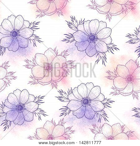 Floral seamless pattern of watercolor flower anemone in pantone Rose quartz and Serenity, flower seamless pattern for card, holiday, wedding, birthday, textile, wallpaper, wrapping Vector flower