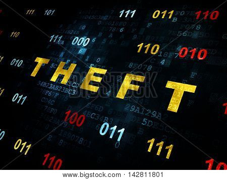 Security concept: Pixelated yellow text Theft on Digital wall background with Binary Code