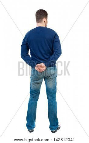 back view of Business man  looks.  Rear view people collection.  backside view of person.  Isolated over white background.