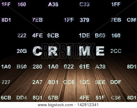 Safety concept: Glowing text Crime in grunge dark room with Wooden Floor, black background with Hexadecimal Code