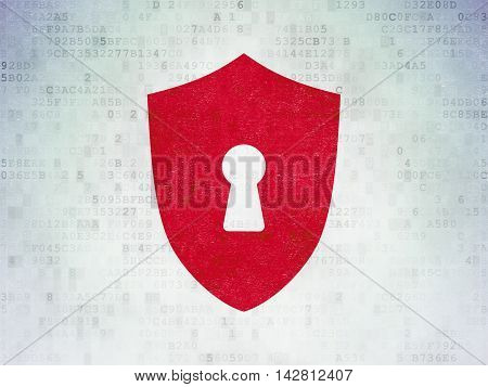 Security concept: Painted red Shield With Keyhole icon on Digital Data Paper background
