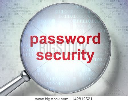 Protection concept: magnifying optical glass with words Password Security on digital background, 3D rendering