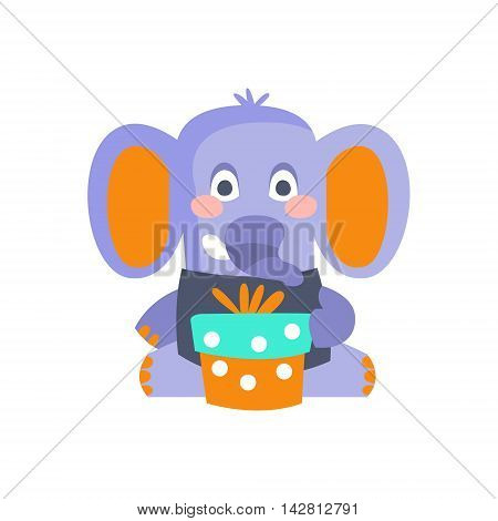 Elephant With Party Attributes Girly Stylized Funky Sticker. Funny Colorful Flat Vector Illustration For Kids On White Background