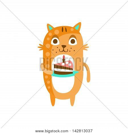 Cat With Party Attributes Girly Stylized Funky Sticker. Funny Colorful Flat Vector Illustration For Kids On White Background