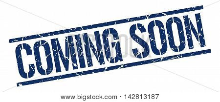 coming soon stamp. blue grunge square isolated sign