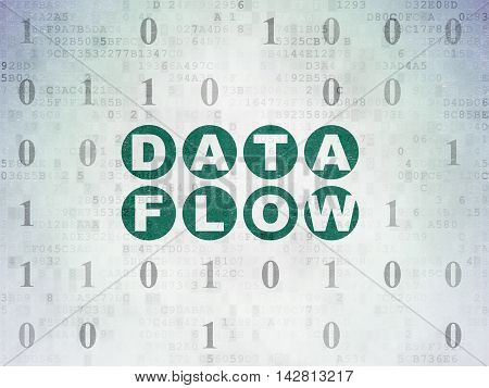 Information concept: Painted green text Data Flow on Digital Data Paper background with Binary Code