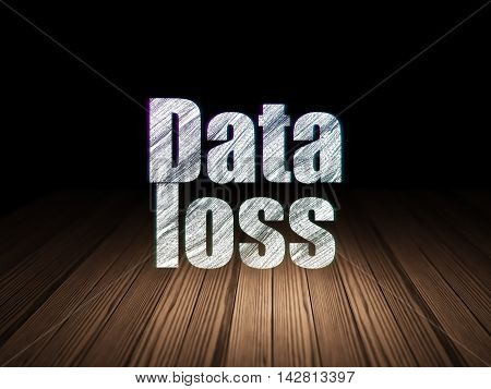 Information concept: Glowing text Data Loss in grunge dark room with Wooden Floor, black background