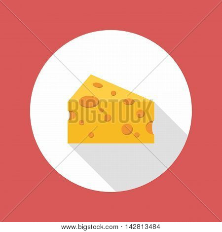 Cheese flat style icon with long shadow. Vector illustration