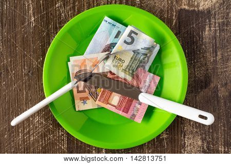 Price of food and eating wealth. Conceptual image