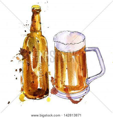 watercolor brown bottle and cup of beer, alcohol drink, hand drawn illustration, oktoberfest template