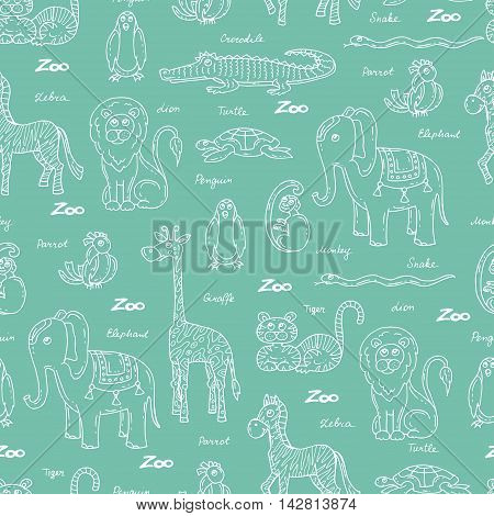 Vector seamless pattern with hand drawn animals on green color. Pattern on the theme of zoo. Background for use in design packing web site fabric