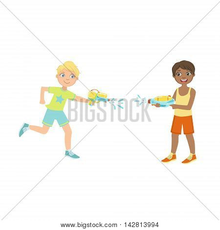 Two Boys HAving A Water Pistol Fight Colorful Flat Bright Color Vector Illustration On White Background