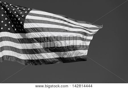 Black and white photography of US Stars and Stripes Flag o