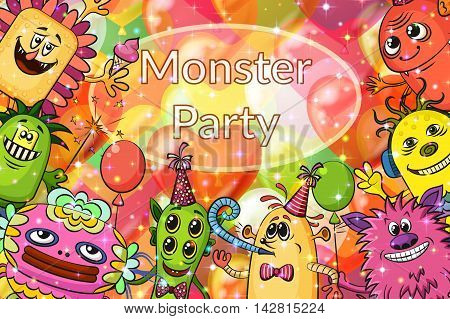 Background for Your Holiday Party Design with Different Cartoon Monsters, Colorful Illustration with Cute Funny Characters and Valentine Balloons. Eps10, Contains Transparencies. Vector