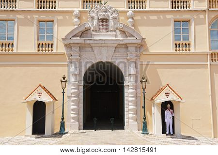 MONTE CARLO, MONACO - JUNE 17, 2015: Guard on duty at the official residence of the Prince of Monaco in Monte Carlo, Monaco.