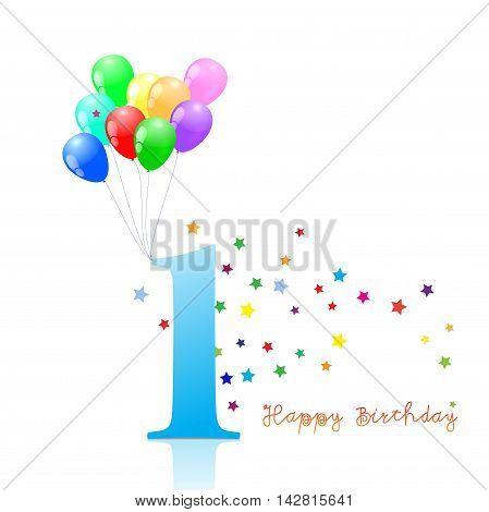 Anniversary First birthday signs collection. Anniversary, birthday emblem with ballons.