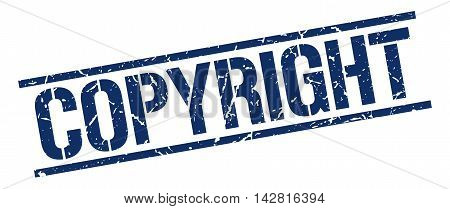 copyright stamp. blue grunge square isolated sign