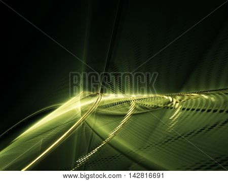 Abstract background element. Fractal graphics series. Three-dimensional composition of glowing lines and mosaic halftone effects. Information and energy concept.
