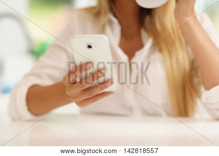 Midsection of young woman in the kitchen with smartphone