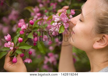 Portrait of a young smiling woman smelling apple trees' flowers. Girl and blooming apple tree. Spring time with trees flowers.