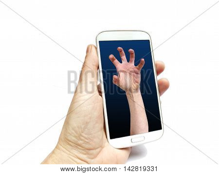 Hand Holding Smart Phone With Grabbing Hand On Screen
