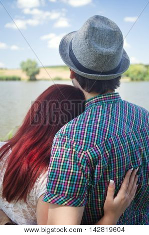 Young love couple holding each other