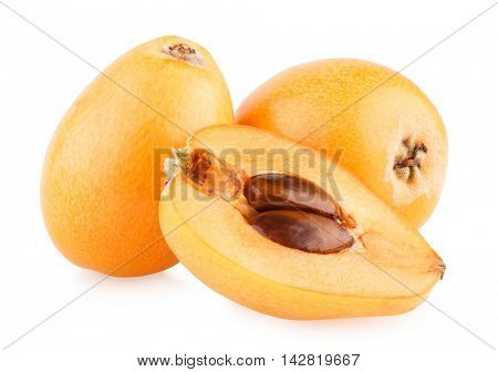 Ripe loquats (Eriobotrya japonica) isolated on white background