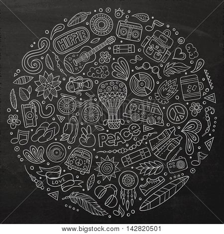 Chalkboard vector hand drawn set of Hippie cartoon doodle objects, symbols and items. Round composition