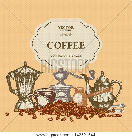 Coffee menu template ink hand drawn vector