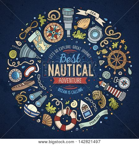 Colorful vector hand drawn set of Nautical cartoon doodle objects, symbols and items. Round frame composition